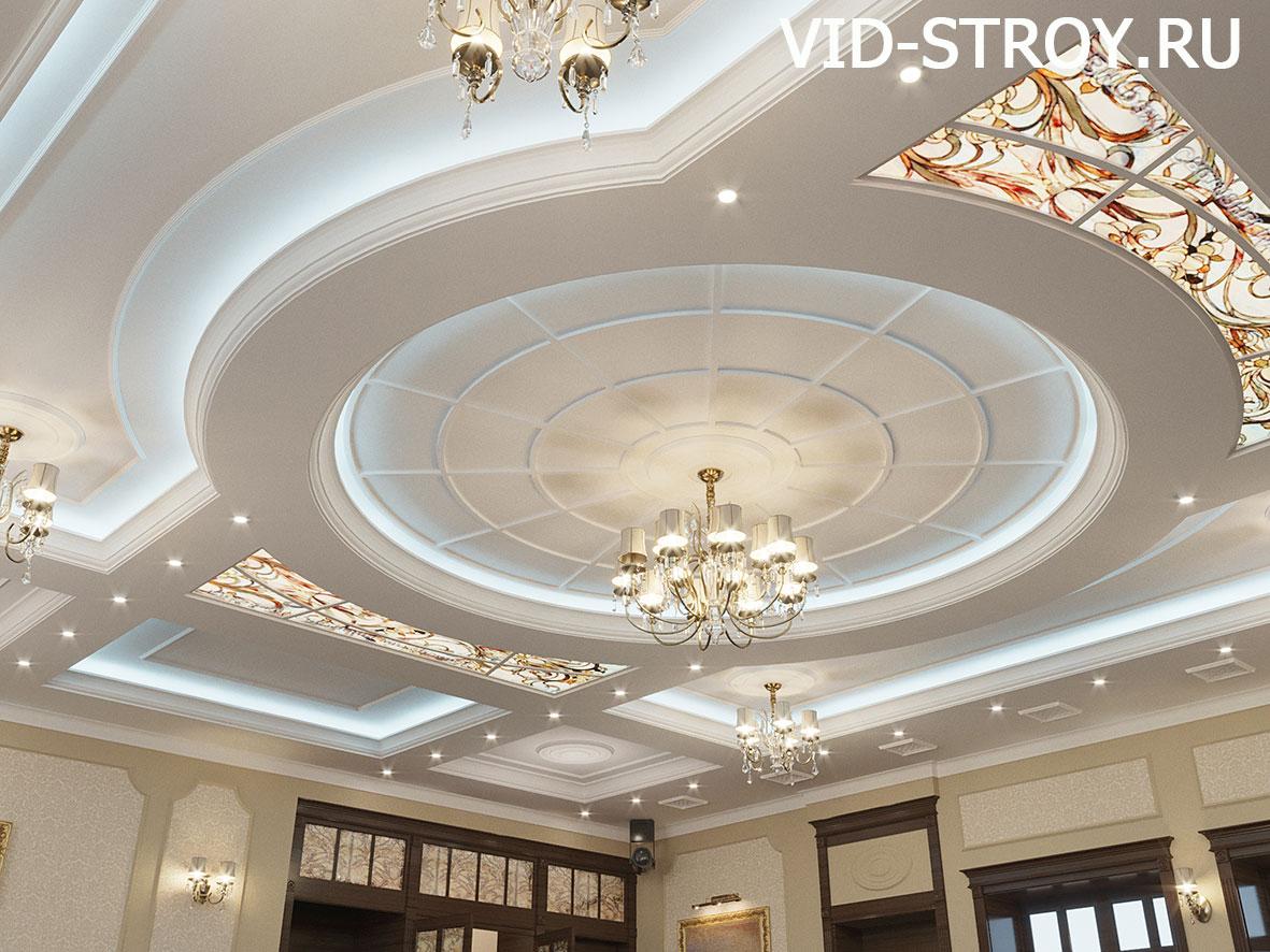 Дизайн потолка ресторана в классике