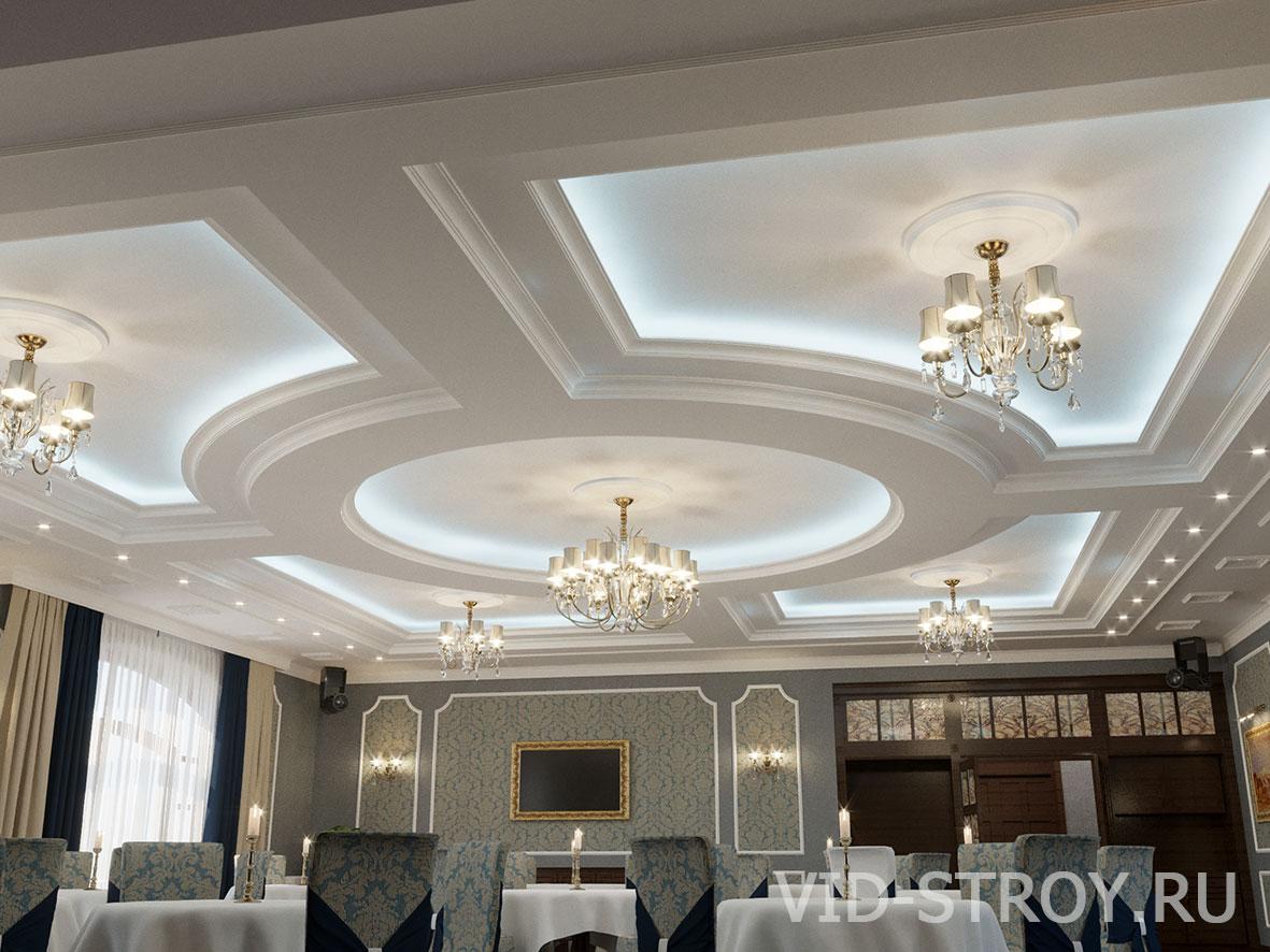 дизайн потолка банкетного зала
