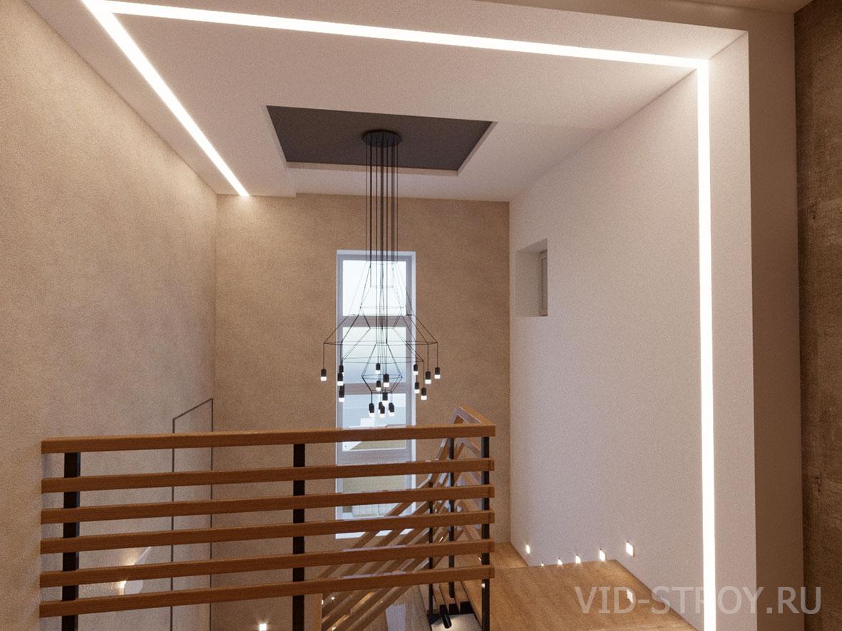 Дизайн потолка над лестницей