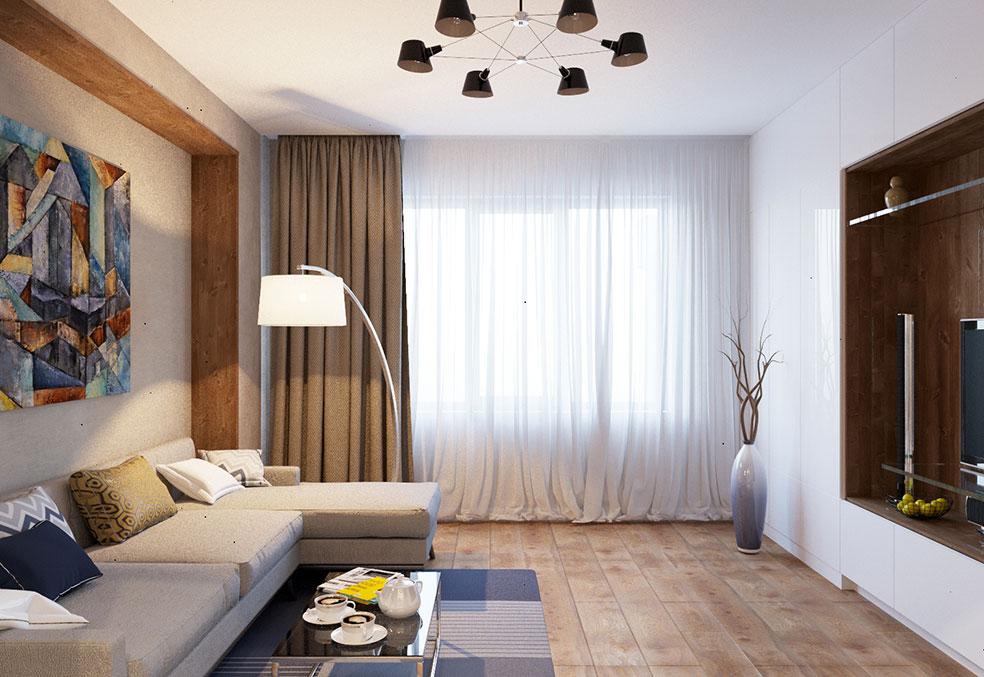 дизайн современной гостиной в трехкомнатной квартире