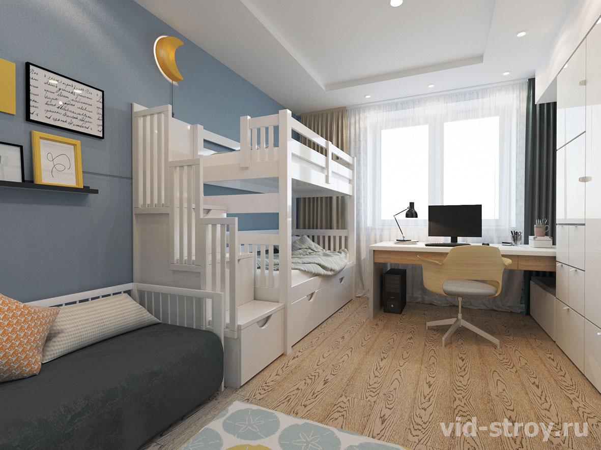 дизайн детской с двухуровневой кроватью