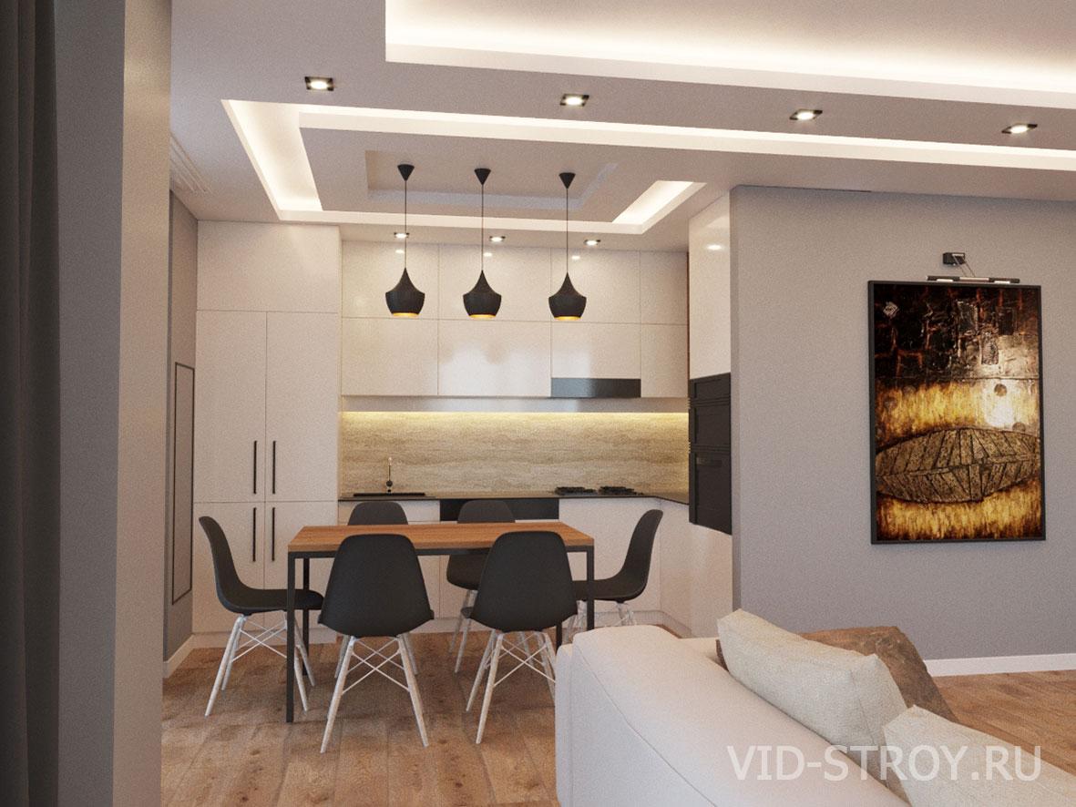 кухня в интерьере трехкомнатной квартиры