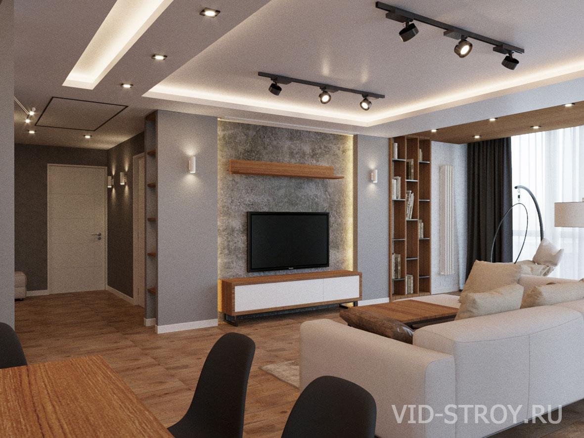 дизайн зала в современной трехкомнатной квартире