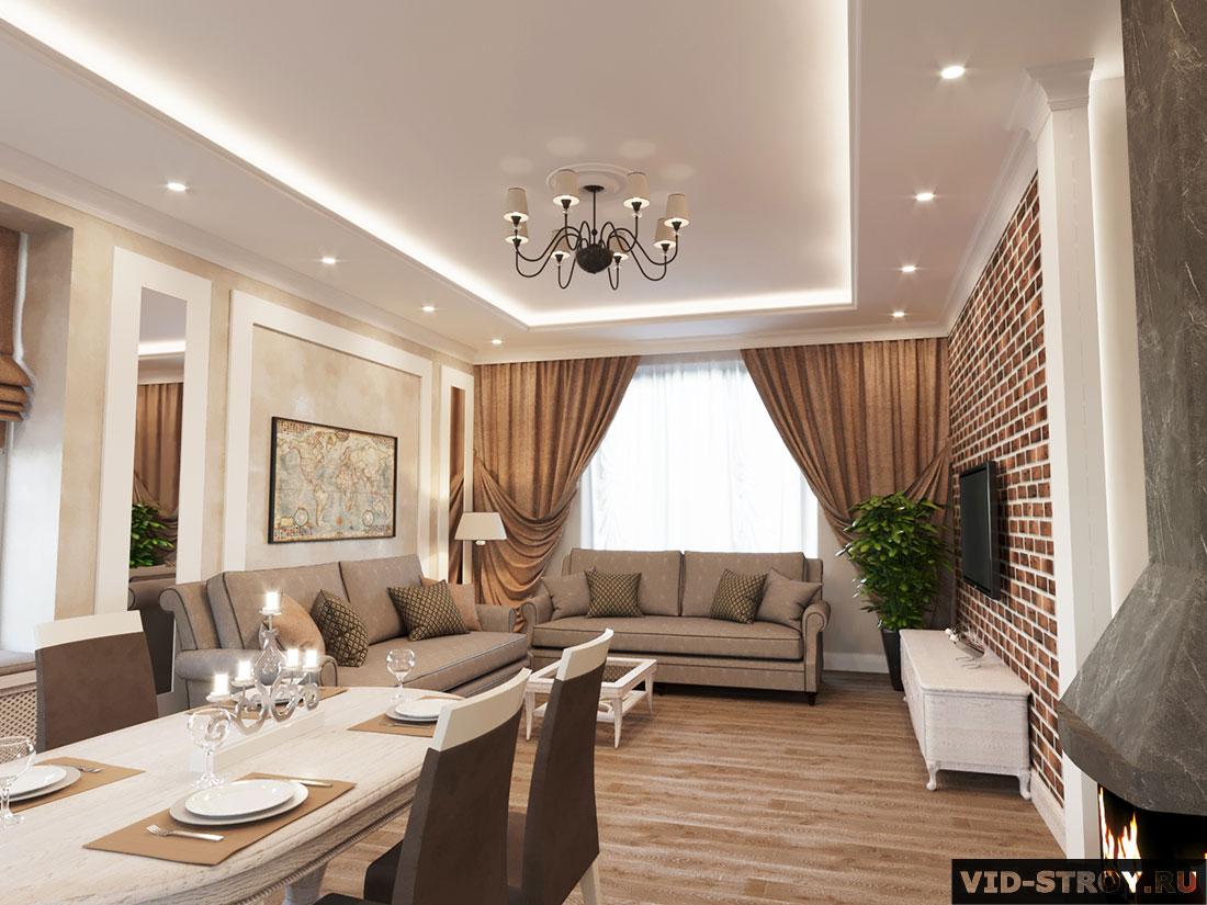 Дизайн зала загородного дома