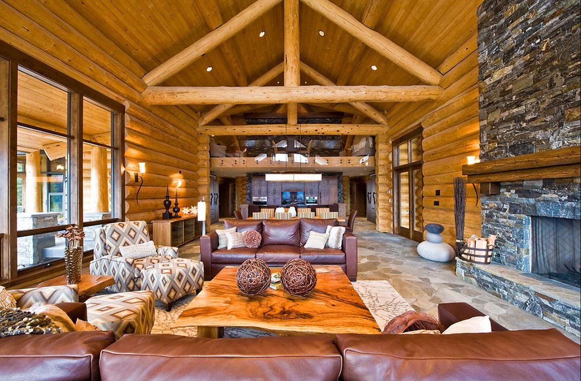 Роскошный интерьер в доме из бревна фото