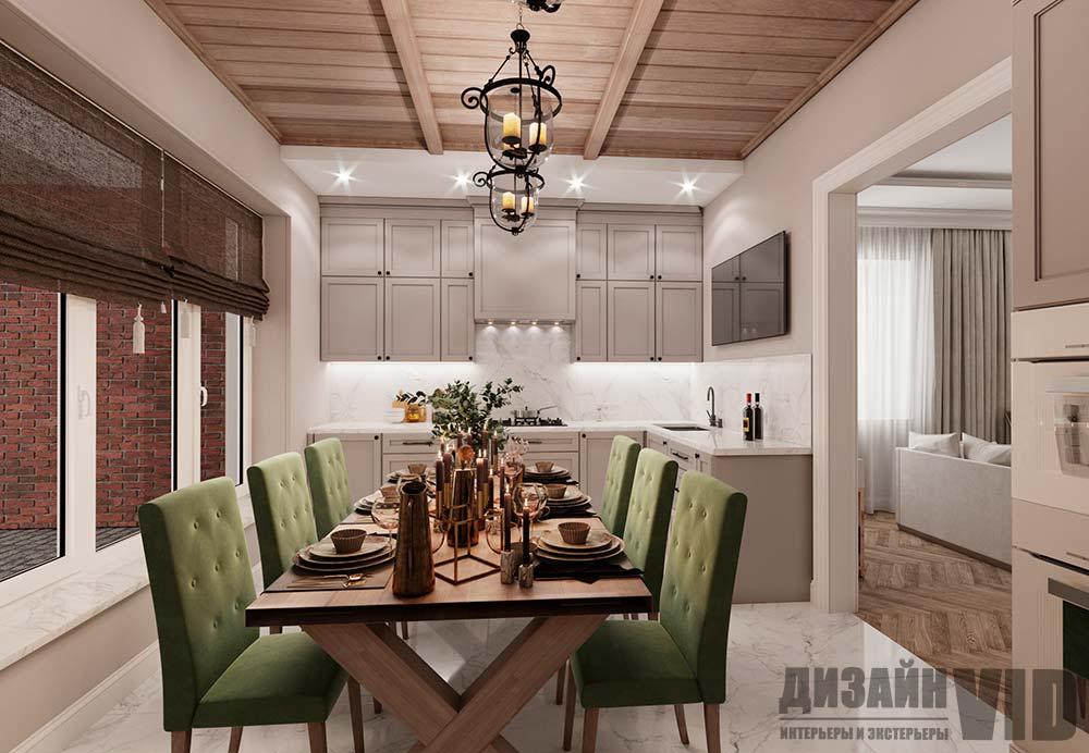 кухня с деревянным потолком