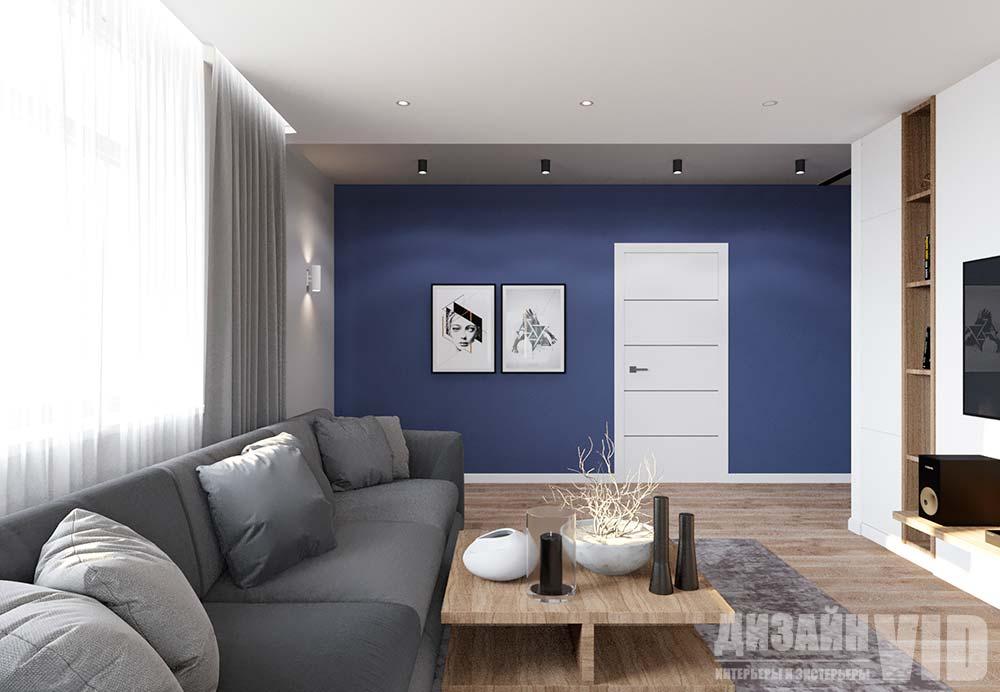 дизайн интерьера синий цвет