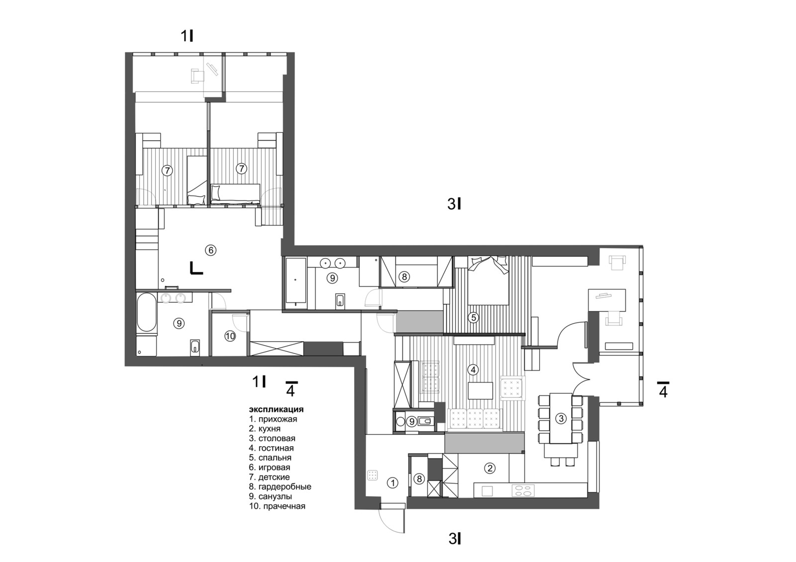 план интерьера квартиры в Москве