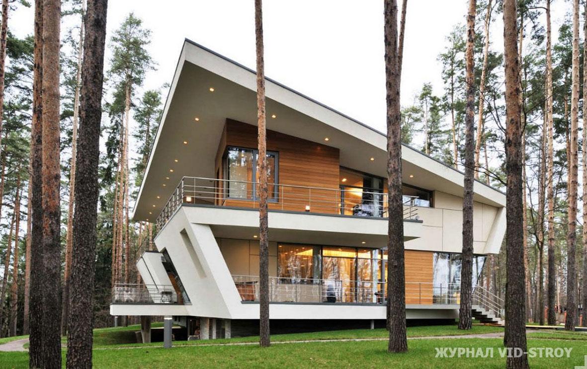 современный дом в форме трапеции