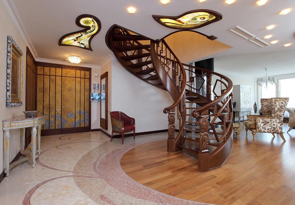 деревянная лестница арт-нуво