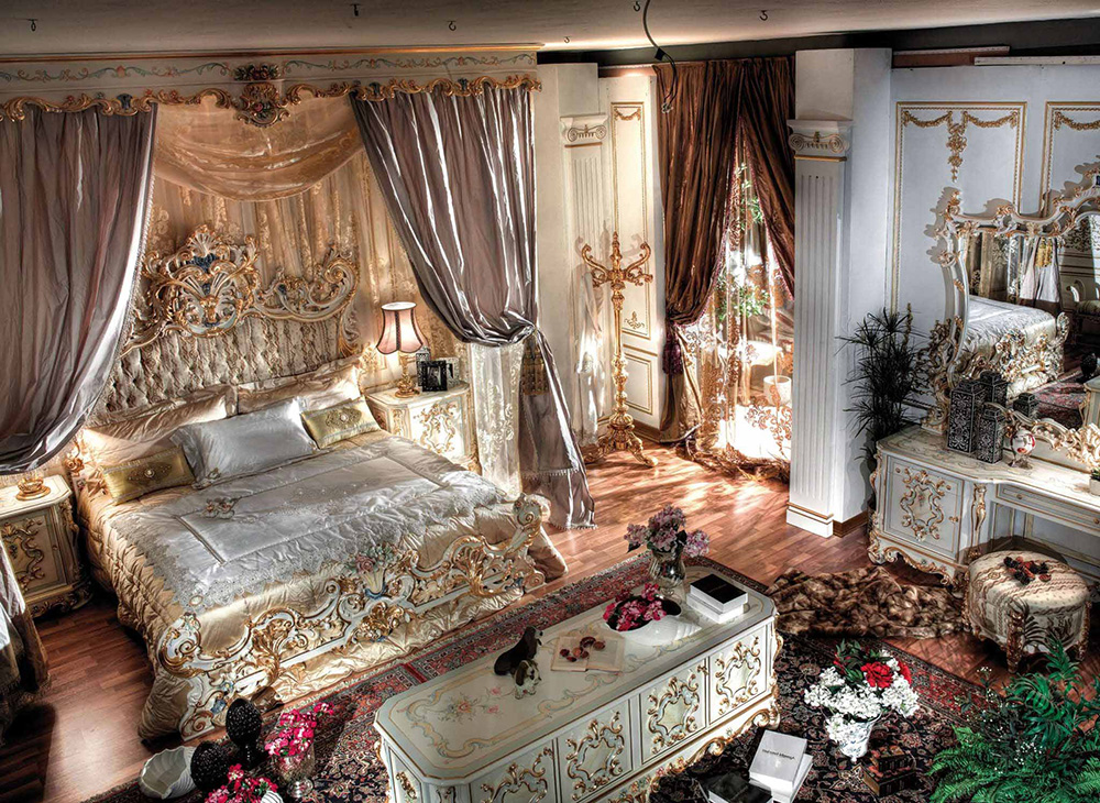 интерьер спальной комнаты в барокко