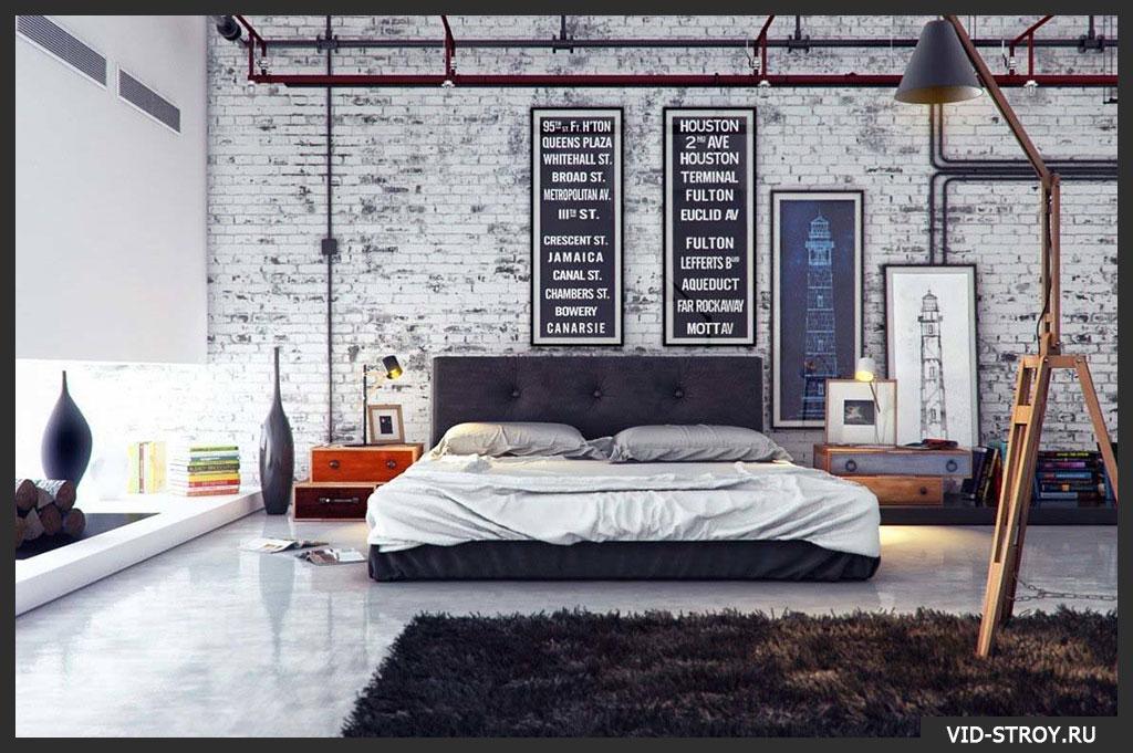 кирпич в спальне