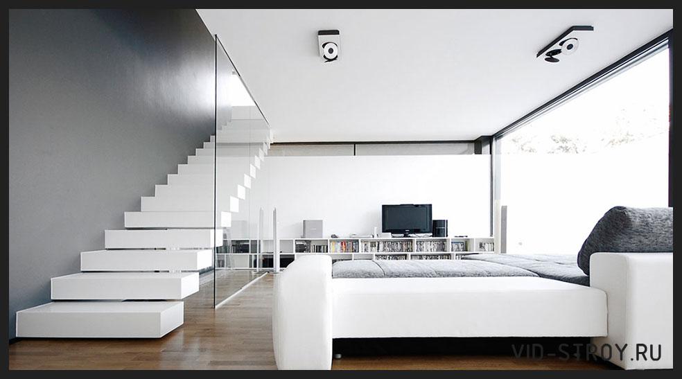 светлый зал в минимализме