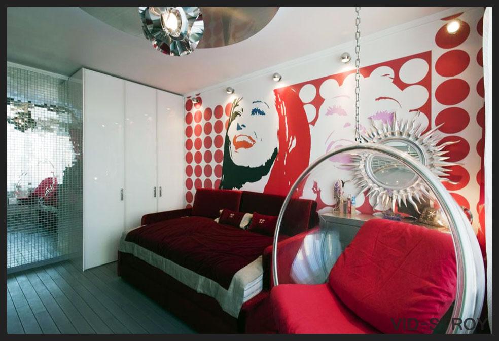 яркая спальня в стиле поп-арт