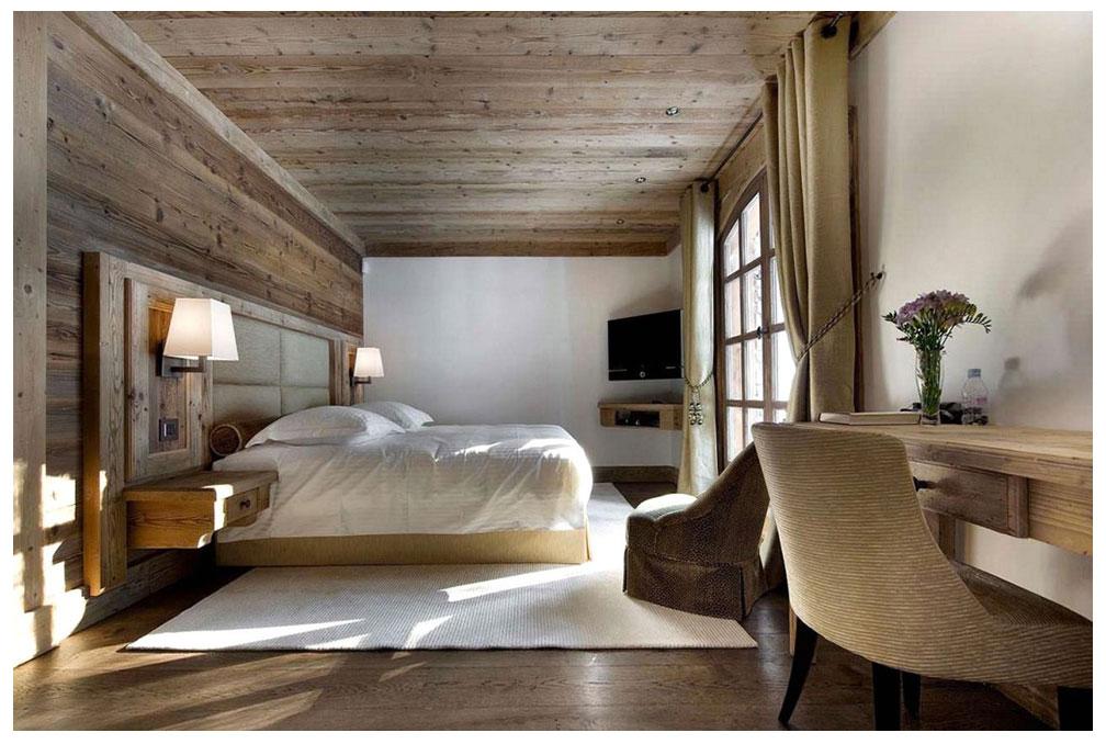 роскошная спальня в стиле шале