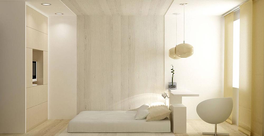 белый интерьер спальни в минимализме