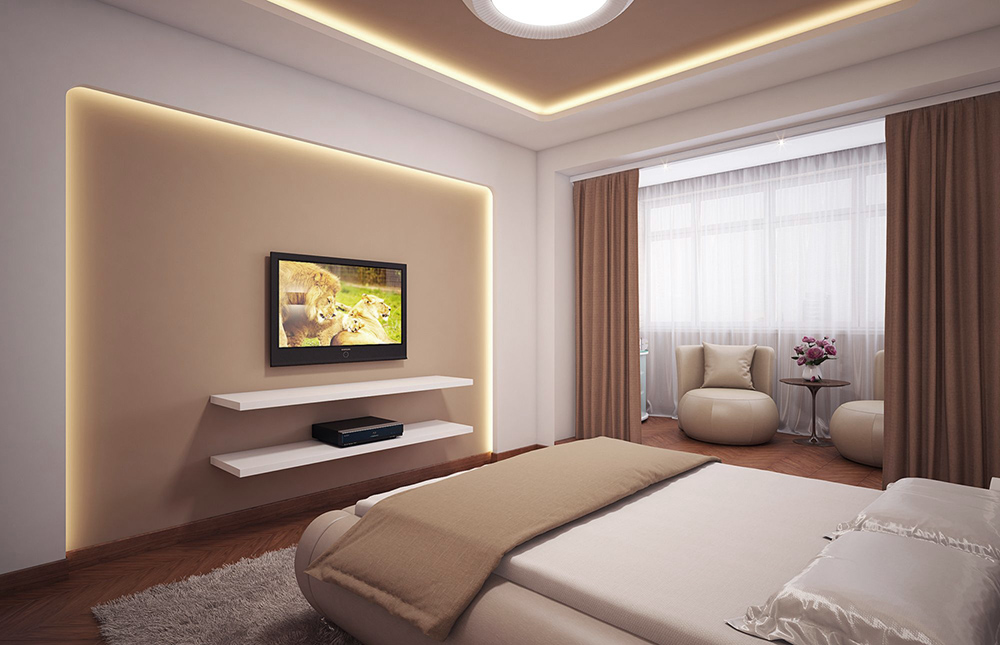 спальня выполненная в минимализме