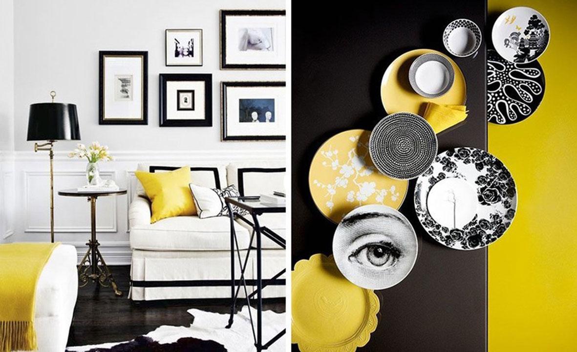 жёлтый и черный в интерьере