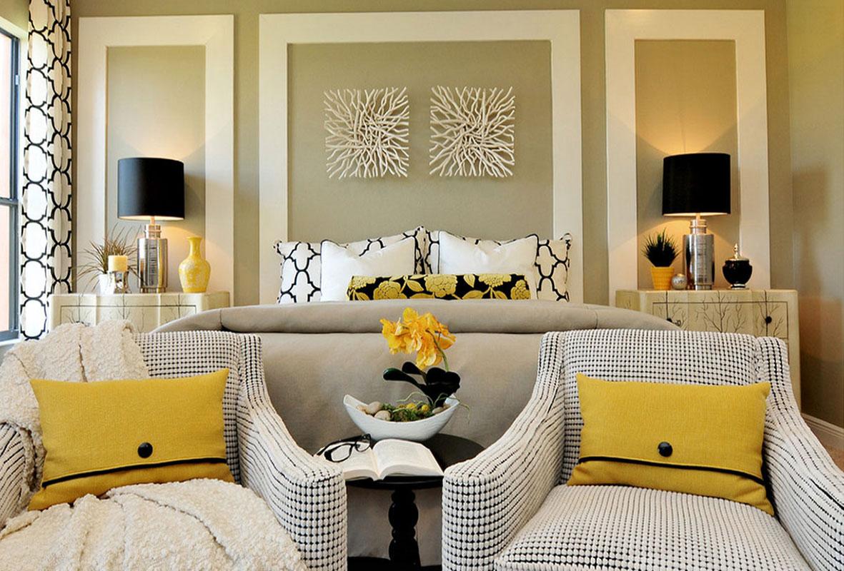 жёлтый в интерьере спальни