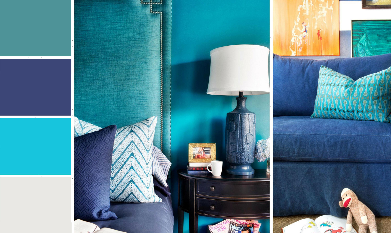 Голубой и синий в интерьере
